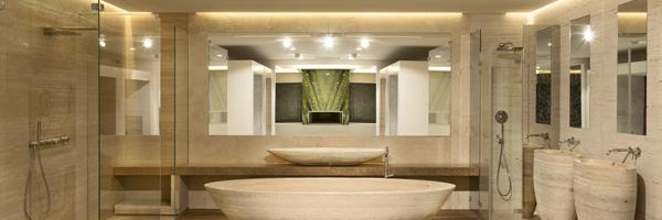 Bagno in Travertino doccia Duscholux