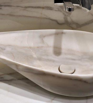 Lavabo Marmo Bianco con Venature Grigie
